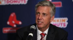 (081915 Boston, Ma) New Boston Red Sox Director of Baseball Operation Dave Dombrowski addresses the media at his introductory press conference at Fenway Park. Staff photo by John Wilcox